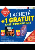 Prospectus Leader Price : 1 acheté = 1 gratuit chez moins le cher !
