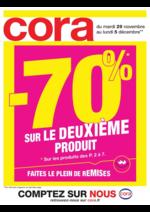Prospectus Cora : -70% sur le 2ème produit