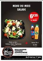 Journaux et magazines Marie Blachère : Menu du Mois Salade